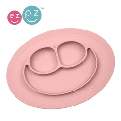 Ezpz silikonowy talerzyk z podkładką mały 2w1 mini mat pastelowy róż
