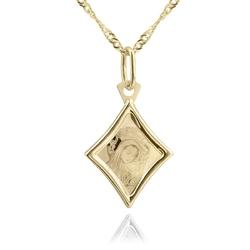Złoty medalik z łańcuszkiem próba 585 matka boska z dzieciątkiem chrzest komunia grawer - białe z różową kokardką