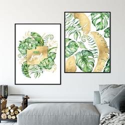 Zestaw dwóch plakatów - home jungle , wymiary - 50cm x 70cm 2 sztuki, kolor ramki - czarny