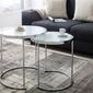 Interior space :: zestaw 2 stolików modern glass srebrny 50cm 42cm