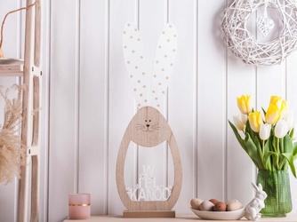 Ozdoba wielkanocna  figurka drewniana zając owalny duży altom design 63,5 x 21,5 x 6,5 cm dek. wielkanoc