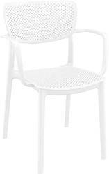 Krzesło loft z podłokietnikami białe - biały