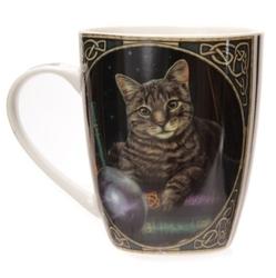Kot z kryształową kulą do przepowiedni  - porcelanowy kubek z nadrukiem projekt: lisa parker