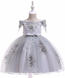 Szara sukienka dla dziewczynki z dekoltem carmen 057