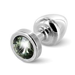 Plug analny ozdobny - diogol anni butt plug 25mm okrągły srebrny z czarnym