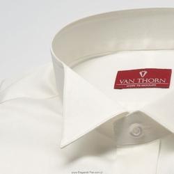 Elegancka śmietankowa ecru koszula smokingowa z łamanym kołnierzykiem - slim fit 38