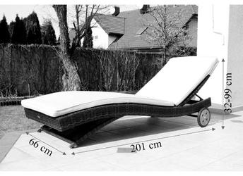 Leżak ogrodowy na kółkach bob technorattan ciemnobrązowy
