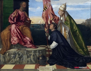 święty piotr z papieżem aleksandrem vi i biskupem jacopem pesaro - tycjan ; obraz - reprodukcja