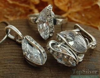 Insbruck - srebrny komplet z kryształkami swarovskiego
