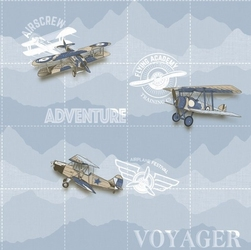 Tapeta niebieska samoloty dwupłatowce vintage babylandia 5414