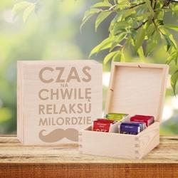Pudełko drewniane na herbatę prezent dla babci mamy z grawerem