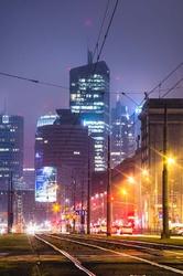 Warszawa city - plakat premium wymiar do wyboru: 30x40 cm