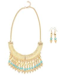 Komplet biżuterii złoty koraliki miętowy - niebieski