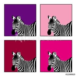 Obraz na płótnie canvas czteroczęściowy tetraptyk zebra