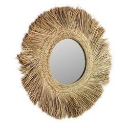 Lustro ure okrągłe brązowe śr. 72 cm