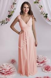 Sukienka wieczorowa z gipiurowymi kwiatami na ramionach, jasny róż | druhny, świadkowe 2103