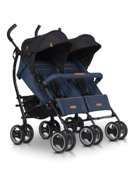 Easygo duo comfort denim wózek bliźniaczy + torba dla mamy gratis