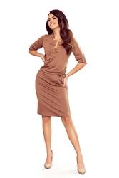 Jasno brązowa sukienka z niską stójką