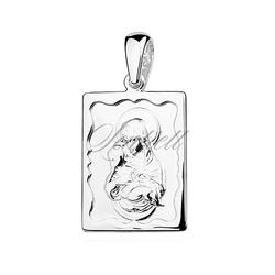 Srebrny medalik - matka boska częstochowska z dzieciątkiem