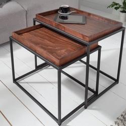 Prostokątny stolik kawowy elements z bukowym blatem  zestaw 2 szt.