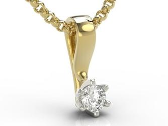 Wisiorek z żółtego i białego złota z brylantem lpw-8016zb