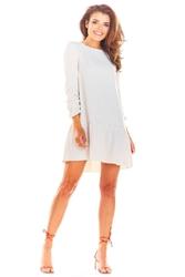 Beżowa trapezowa sukienka mini z rękawem 34