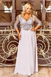 Popielata sukienka plus size z koronkową górą z cekinami - crystal 34