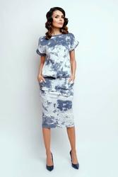 Nowoczesna szaro biała sukienka midi z krótkim rękawkiem