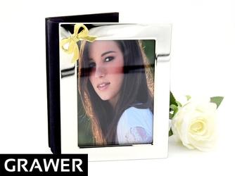 Posrebrzany album na zdjęcia ze złotą wstążką prezent ślub rocznica grawer