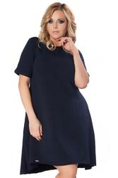 Granatowa sukienka do pracy z wydłużonym tyłem plus size