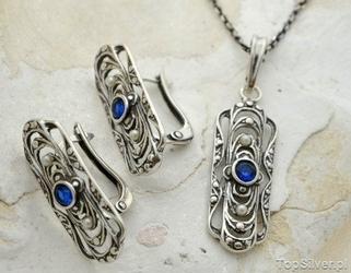 Vivian - srebrny komplet z szafirem i perłami