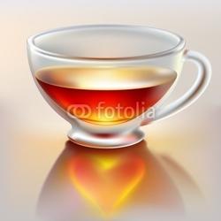 Obraz na płótnie canvas trzyczęściowy tryptyk kubek herbaty z miłością
