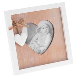 Prowansalska ramka retro zdjęcie w sercu brąz grawer