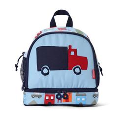 Plecak dla malucha z kieszenią na drugie śniadnie - niebieski w autka Penny Scallan