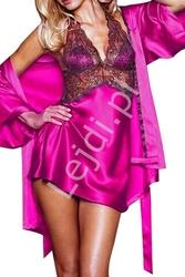 Różowy komplet, szlafrok + koszulka ze stringami