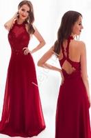 Bogato zdobiona suknia wieczorowa ciemne wino z podkreślonymi plecami