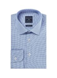 Niebieska koszula męska taliowana z klasycznym kołnierzykiem we wzór, slim fit 44
