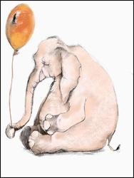 Słonik z balonem, białe tło - plakat wymiar do wyboru: 50x70 cm
