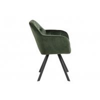 Krzesło z podłokietnikami lola pikowane welur zielone