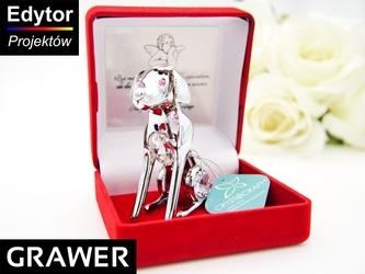 Pies labrador róż swarovski grawer chrzest roczek