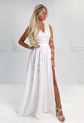 Suknia ślubna z rozcięciem ukazującym nogę | długa biała juliette