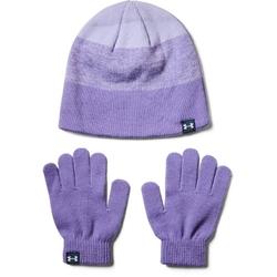 Czapka i rękawiczki zestaw dziewczęcy under armour girls beanie glove combo - fioletowy