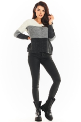 Trójkolorowy sweter z dekoltem v - szary