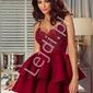 Bordowa sukienka z piankową spódnicą -  leila