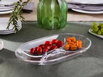 Półmisek  salaterka szklana owalna huta jasło 4-częściowa