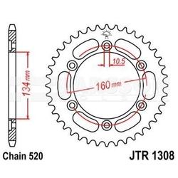 Zębatka tylna aluminiowa jt a1308-42, 42z, rozmiar 520 2303384 honda cbr 1000