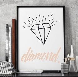 Diament - stylowy plakat w ramie , wymiary - 50cm x 70cm, kolor ramki - biały