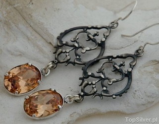 Alosia - srebrne kolczyki z topazem złocistym