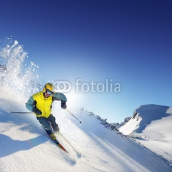 Obraz na płótnie canvas dwuczęściowy dyptyk narciarz w wysokich górach