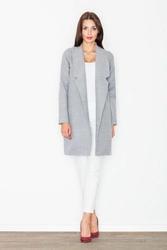 Szary krótki klasyczny płaszcz damski